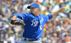 Everett Teaford of the Kansas City Royals pitches against the Detroit Tigers on July 8, 2012.