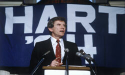 Democratic presidential candidate Gary Hart speaks shortly after his victory in the New Hampshire primary in February 1984.