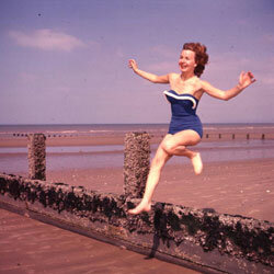Take a hint from '50s styling if you want to look chic beachside but still be able to clear a breakwater or two.