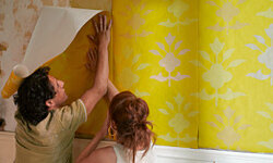Textured wallpaper can bring a subtle depth to the walls.