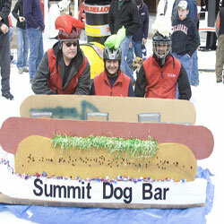 Competitors in the 18th annual Mount Sunapee Intragalactic Cardboard Sled Race