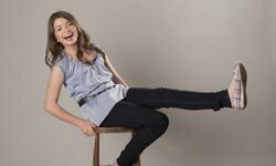 Teen actress Jadin Gould shows off a variety of popular back-to-school styles including skinny jeans and ballerina flats.
