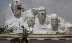 Zewail is a big deal in Egypt -- and in science. This sculpture features former President Hosni Mubarak (L) with the Egyptian Nobel Prize winners (2L-R) Ahmed Zewail, Anwar Sadat and Naguib Mahfouz.