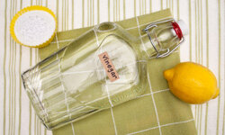 Adding a bit of lemon juice to a baking-soda-and-vinegar solution will lend it a more pleasant scent.