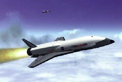 An artist's concept of the X-34, a test vehicle for future generations of reusable launch vehicles.