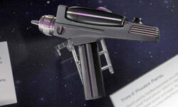"Seen on Oct. 10, 2009, this replica phaser was on display at ""Star Trek -- The Exhibition"" in Los Angeles."