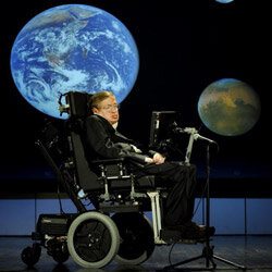 Hawking lectures during NASA's 50th anniversary celebration in 2008