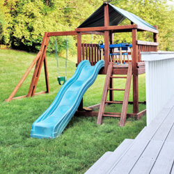 Play structures turn a regular yard into a private playground.