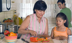 Give kids the chance to cook with their grandparents as often as you can. This way they can learn to cook the dishes they like that their grandparents make.