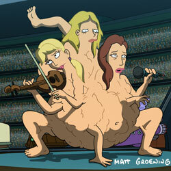 """The Dixie Chicks take a deep penetrating dive into the plasma pool in the 2008 Futurama film """"Bender's Game."""""""