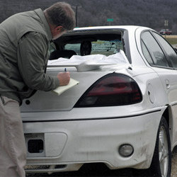 Your insurance company will probably send an agent out to document the damage done to your car, so be sure to report it accurately and make note of any preexisting damage.
