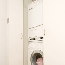 Keep the laundry flowing from top to bottom with a stackable washer-dryer combo.