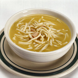 Chicken noodle soup will warm the tummy on a cold day.