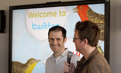 Twitter co-founder and CEO Evan Williams (L) and co-founder Biz Stoneat Twitter headquarters. See more pictures of popular web sites.