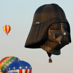 The Darth Vader balloon clearly rises above the rest.