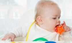Babies can begin picking up objects with thumb and forefinger by 8 or 9 months.