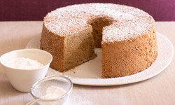 Add a little lift to an American angel food cake with some Italian espresso in the batter.