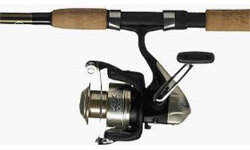 This could be your first piece of trout gear: a spinning combo. This one is made by Shimano.
