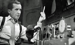 """CBS newsman Edward R. Murrow ended all of his new broadcasts with """"Good luck, and good night."""""""