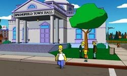 In this shot from a Simpsons' video game, Homer seems to have forgotten about his son Bart.