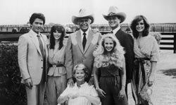 """A rare moment of TV harmony for the """"Dallas"""" clan. J.R. and Sue Ellen are on the right."""