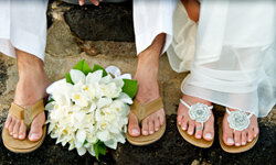 Heels would make for an awkward walk down the aisle if you're on the beach.