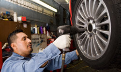 Tire rotation is an important part of routine car maintenance.