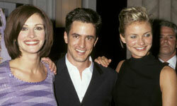 """Julia Roberts, Dermot Mulroney and Cameron Diaz attend the New York City premiere party of """"My Best Friend's Wedding."""""""