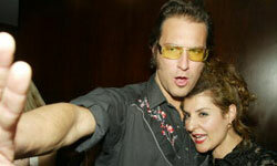 """John Corbett and Nia Vardalos attend the after-party of a screening of """"My Big, Fat Greek Wedding"""" in New York."""