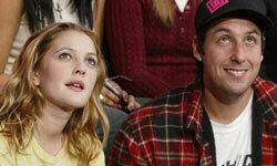 Drew Barrymore and Adam Sandler appear on MTV's TRL on Feb. 13, 2004.