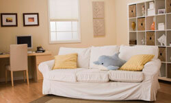 Move your couch to a new spot in the room to change the look.