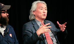 """Musician Mark Everett (left) and physicist Michio Kaku (right) speak at the panel discussion """"Parallel Worlds, Parallel Lives"""" at the World Science Festival."""