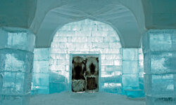 Ice hotels feature beds, but you'll still be in your sleeping bag in the wintertime.