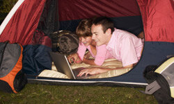 Can't unplug from the global information space even while camping? No problem -- this article has you covered.