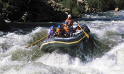 Some rafters ride Kern River's rapids in California.