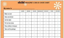 Kids' chore charts like these, available online from Parents magazine, can make it easy to set expectations of what housework should be done, as well as to track its progress.