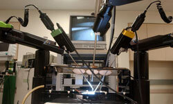 Robotic surgery suites like this one may soon add a Kinect to their arsenal of tools.