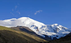 Mount Elbrus, which straddles Europe and Asia, is known as the Jewel of the Caucasus Mountains.