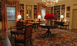 The White House library, above, is one of 132 elegant rooms in the president's residence.