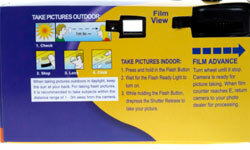 The back of a disposable camera with instructions for taking photographs using the throwaway technology.