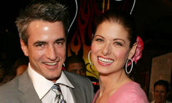 """Dermot Mulroney and Debra Messing attend the 2005 premiere of """"The Wedding Date"""" in Los Angeles."""