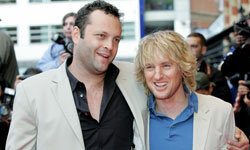 """Vince Vaughn, left, and Owen Wilson arrive at the """"Wedding Crashers"""" world premiere at London's Odeon West End in 2005."""