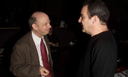 """""""Princess Bride"""" castmates Wally Shawn, left, and Mandy Patinkin have a nearly inconceivable 2001 meeting at the Casting Society of America's salute to the New York winners of the annual Aritos Awards in New York City."""