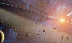 This artist's concept shows the closest known planetary system to our own: Epsilon Eridani. Check out all the rubble.