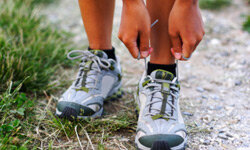The first step: lacing up those running shoes