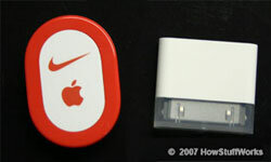 The Nike + iPod Sport Kit Sensor and Receiver. See more iPod pictures.