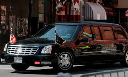 The presidential limousine making its way through New York's Greenwich Village in 2009.