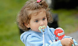 Pacifiers help keep young kids happy and quiet.