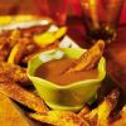 Baked Sweet Potato Fries with Spicy Apricot Dipping Sauce
