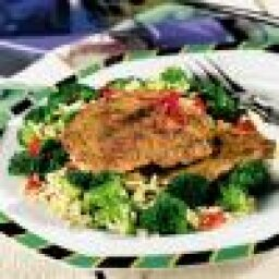 Cajun Spiced Veal Cutlets with Broccoli Rice